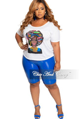 Final Sale Size Plus Patent-Leather Bermuda Shorts in Royal Blue
