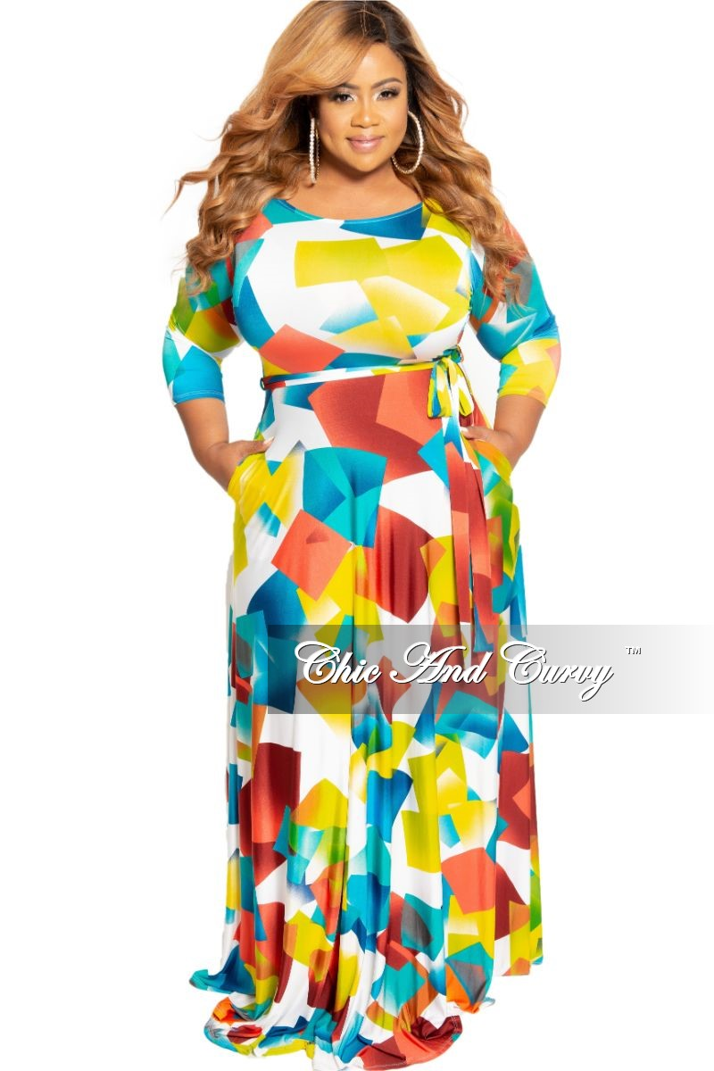 Final Sale Plus Size 3/4 Sleeve Pocket Maxi Dress with Tie in Multi Color Block Print