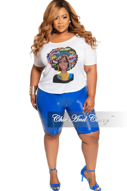 Final Sale Plus Size Short Sleeve Soul Sista Printed Top White Multi Color