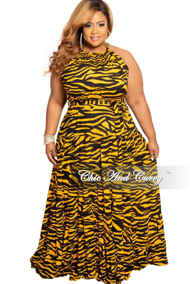 New Plus Size Halter Maxi Dress in Black and Yellow Zebra Print