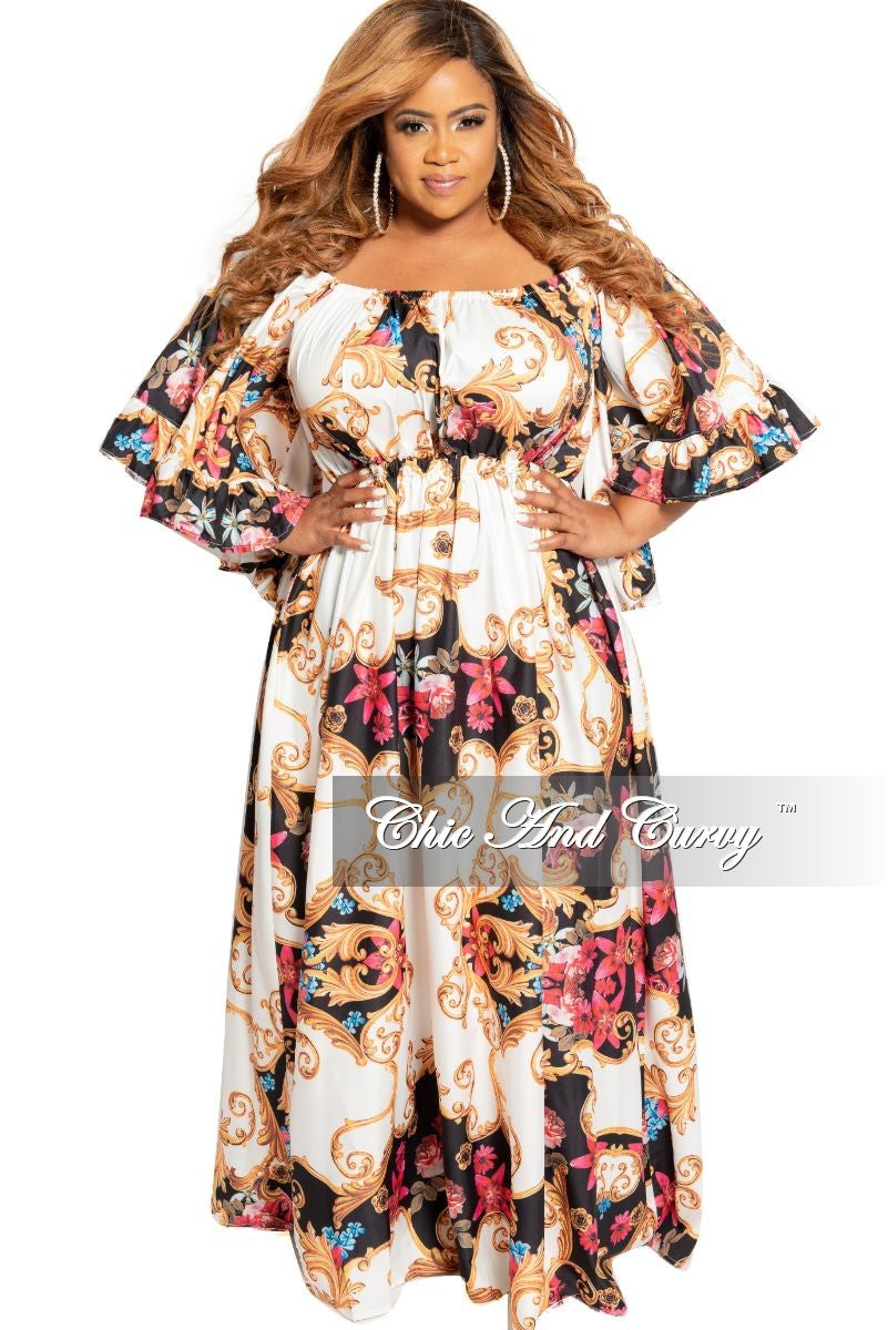 shop best sellers custom vivid and great in style Final Sale Plus Size Off the Shoulder Peasant Dress with Ruffle Sleeves in  Multi Color Floral Print