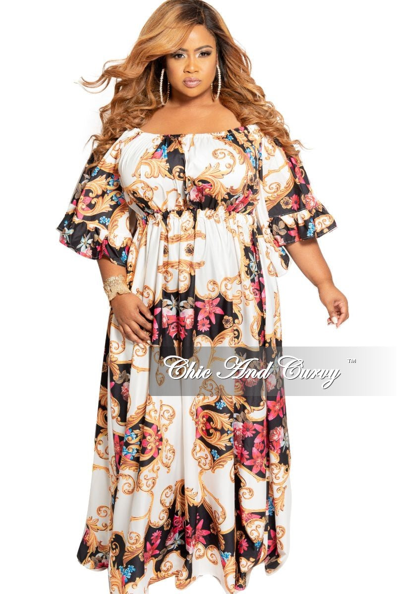 Final Sale Plus Size Off the Shoulder Peasant Dress with Ruffle Sleeves in Multi Color Floral Print