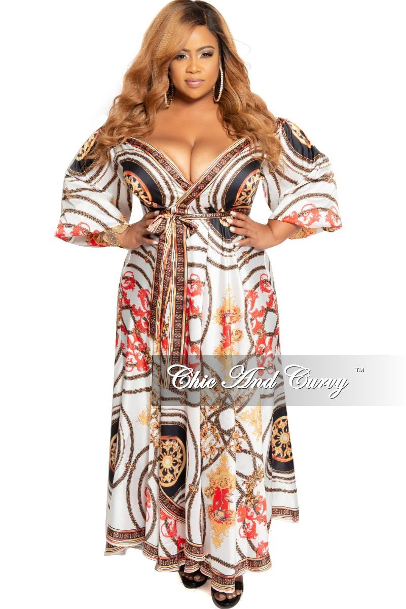 Final Sale Plus Size Off the Shoulder Faux Wrap Maxi Dress in White Red  Yellow and Black Design Print