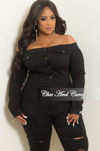 7824637c94 New Plus Size Off the Shoulder Button Up Crop Jacket in Black.   45.00. New  Plus Size Halter Top Jumpsuit with Front and Back Cutouts and Back Zipper  ...