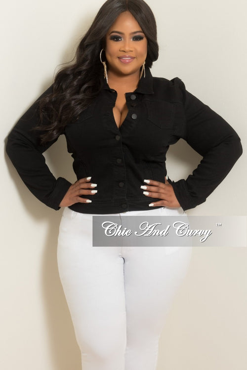 Final Sale Plus Size Jacket in Black Denim