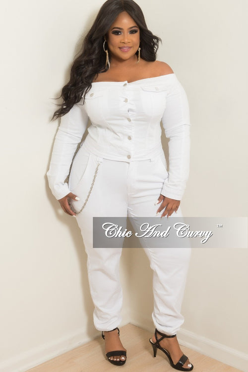 Final Sale Plus Size Off the Shoulder Button Up Crop Jacket and Matching Pants Set in White