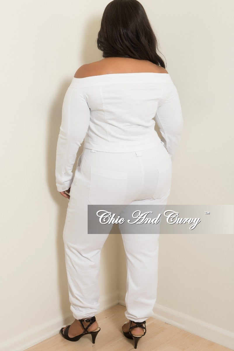 Final Sale Plus Size Off the Shoulder Button Up Crop Jacket in White