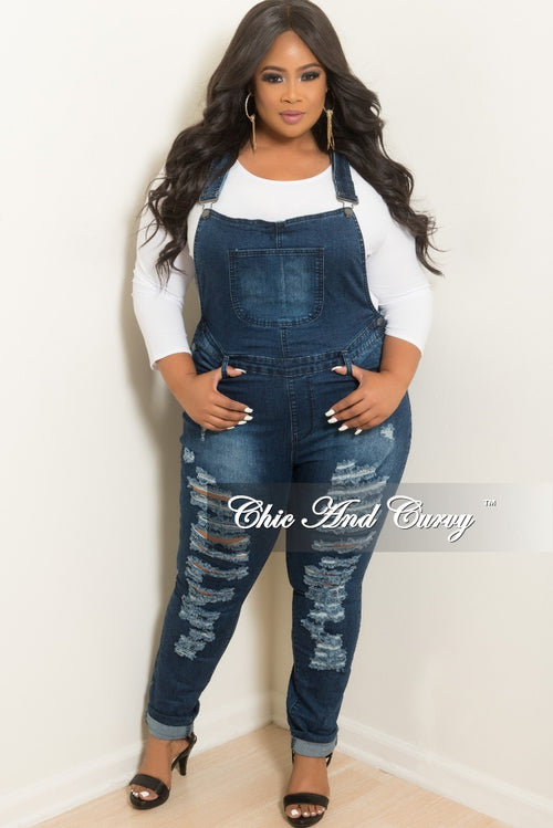 New Sale Plus Size Distressed Overalls in Dark Denim