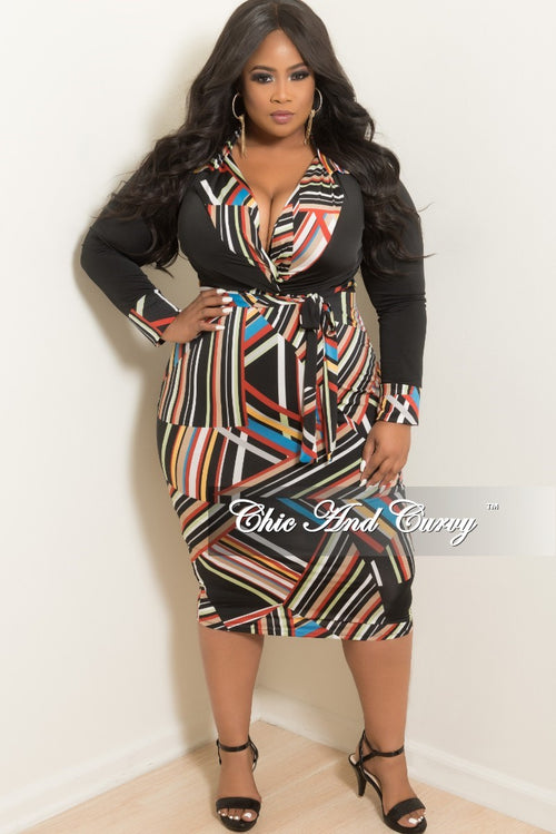 Final Sale Plus Size BodyCon Collar Dress with Attached Tie in Black Multi Color Stripe Print
