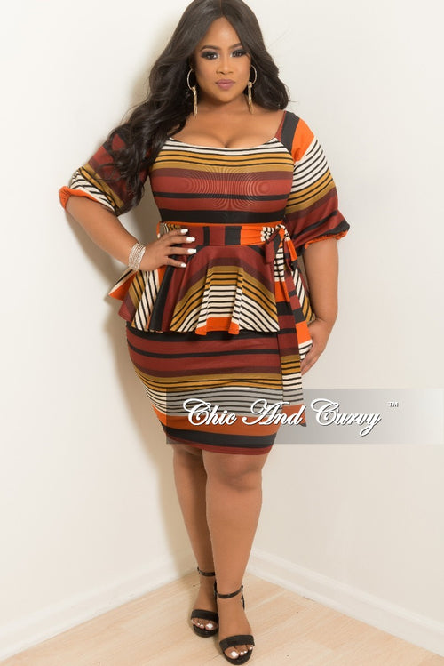 New Plus Size Stripe Peplum BodyCon Dress with Attached Tie in Burnt Orange Cream Burgundy Mustard and Black