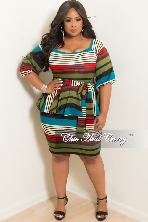 New Plus Size Stripe Peplum BodyCon Dress with Attached Tie in Teal Cream Burgundy Olive and Black