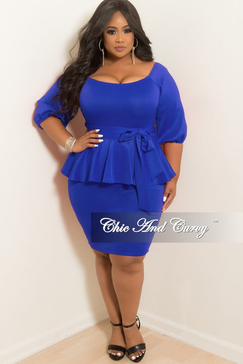 New Plus Size Off the Shoulder Peplum BodyCon Dress with Attached Tie in Royal Blue