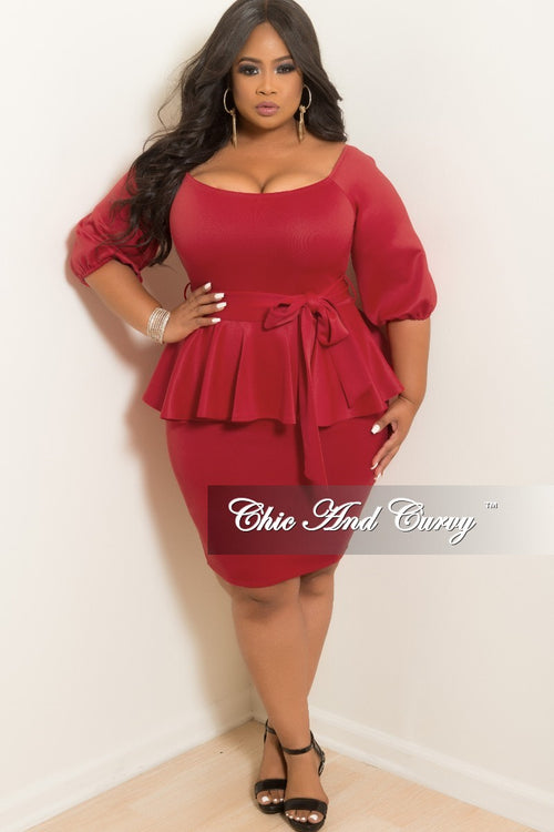 New Plus Size Off the Shoulder Peplum BodyCon Dress with Attached Tie in Burgundy