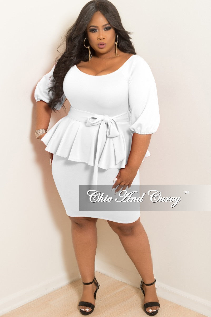 a83ab7b3880 Final Sale Plus Size Off the Shoulder Peplum BodyCon Dress with Attach –  Chic And Curvy