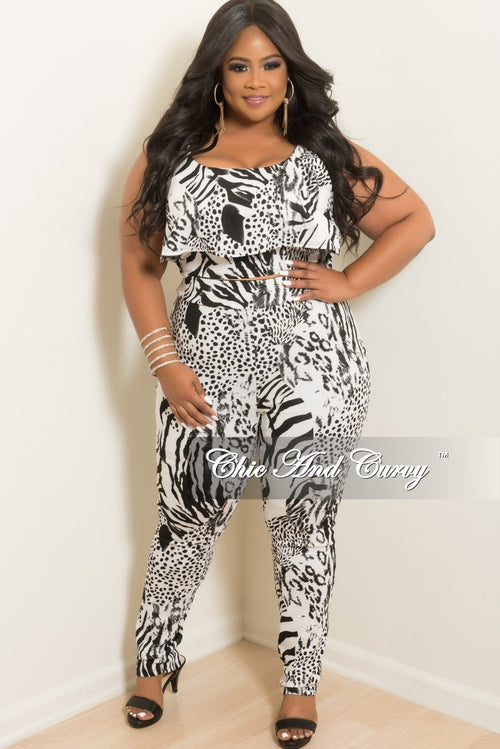 Final Sale Plus Size 2-Piece Top and Pants in Black and White Animal Print