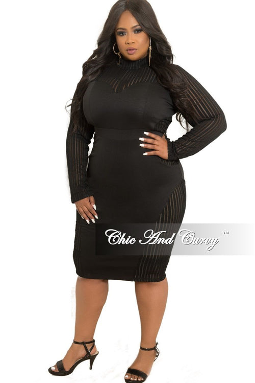 Final Sale Plus Size Mesh Long Sleeve BodyCon Dress with Back Zipper in Black