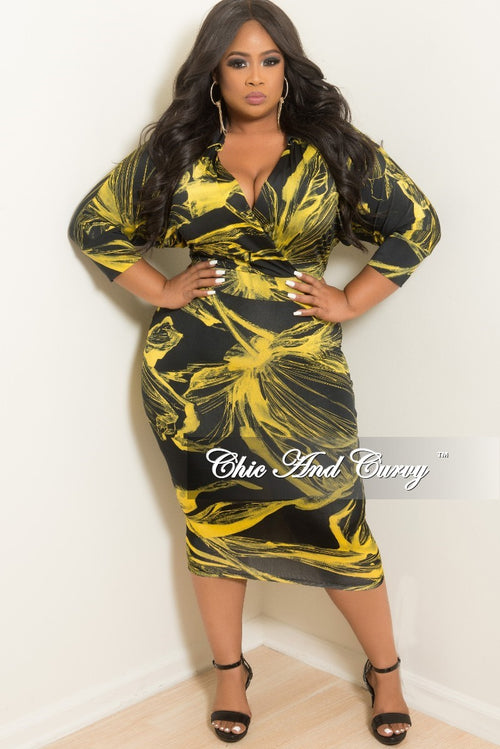 New Plus Size Collared Faux Wrap BodyCon Dress with 3/4 Sleeves in Yellow and Black