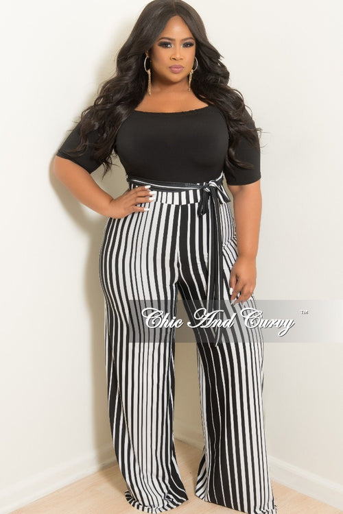 New Plus Size Off the Shoulder Stripe Jumpsuit with Attached Tie and Back Gold Zipper in Black and White