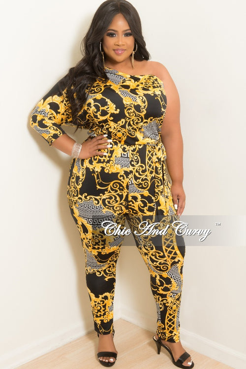 New Plus Size One Sided Jumpsuit with Attached Tie in Gold Black and White