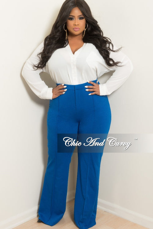 New Plus Size High-Waist Wide Leg Pants in Royal Blue