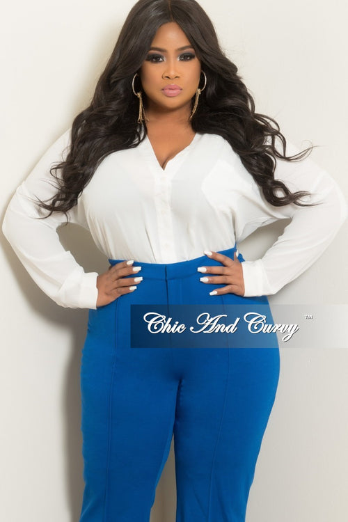 Final Sale Plus Size Long Sleeve V-Neck Button Up Top with Criss-Cross Back in Off White