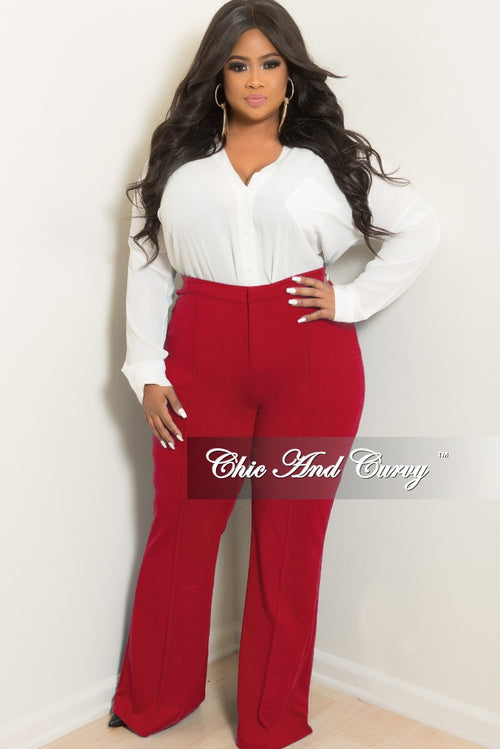 New Plus Size High-Waist Wide Leg Pants in Burgundy