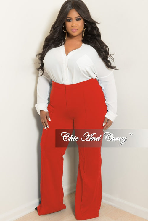 New Plus Size High-Waist Wide Leg Pants in Burnt Orange
