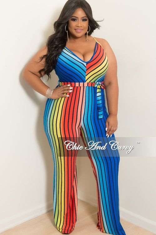 New Plus Size Spaghetti Strap Jumpsuit with Attached Tie in Striped Rainbow Print
