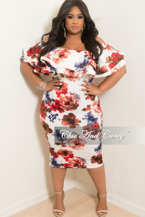 Final Plus Size Off the Shoulder Ruffle BodyCon Dress in White Floral Print