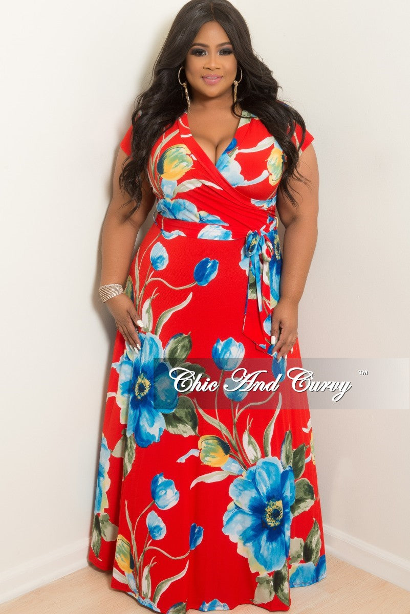 1c6216c93c782 Final Sale Plus Size Faux Wrap Long Dress in Red Floral Print – Chic And  Curvy