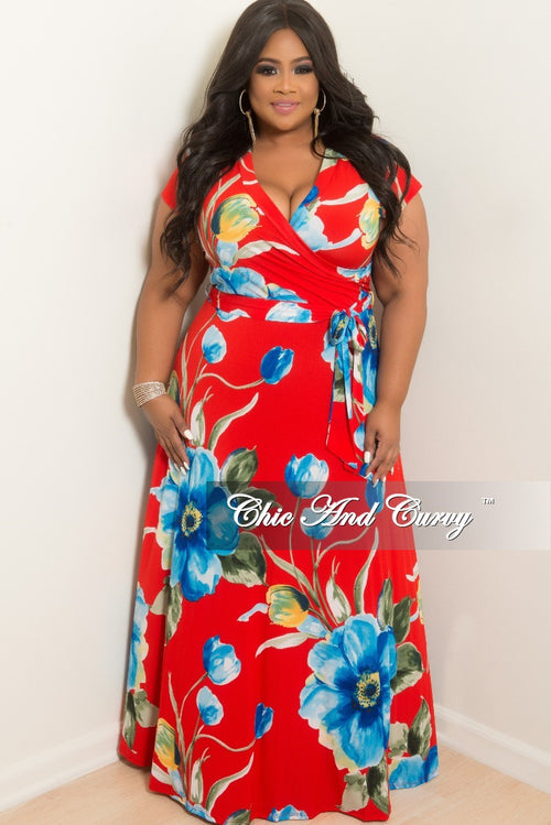 New Plus Size Faux Wrap Long Dress in Red Floral Print