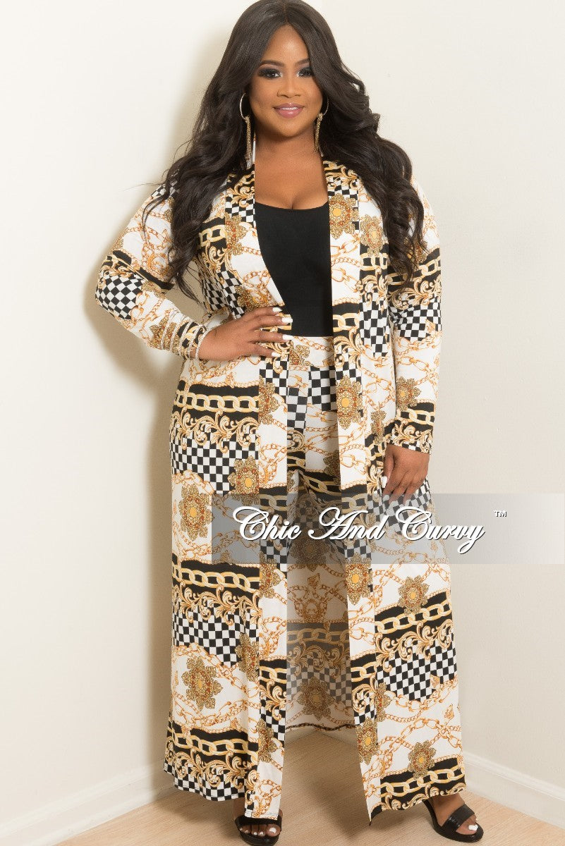 New Plus Size Checker Printed 2-Piece Duster and Pants Set in White, Gold and Black