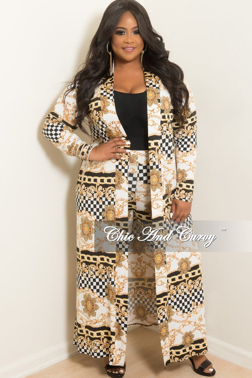 New Plus Size Checker Printed 2-Piece Duster and Pants Set in Black White and Gold