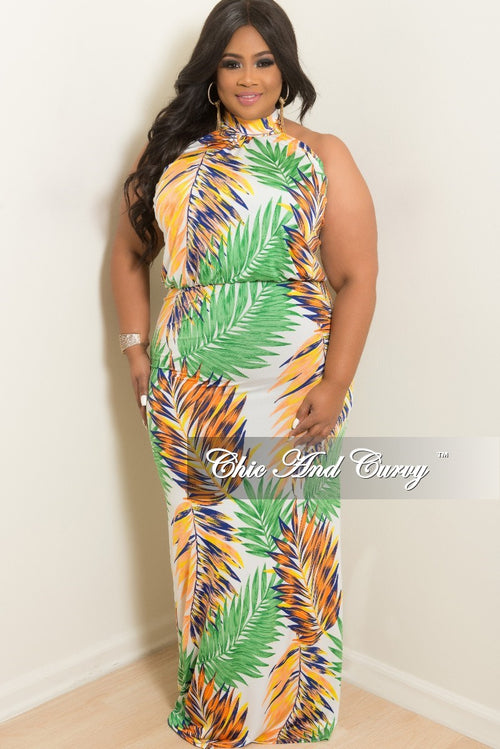 New Plus Size Floor Length Halter Maxi Dress in Green Peach Yellow White and Royal Blue Leaf Print