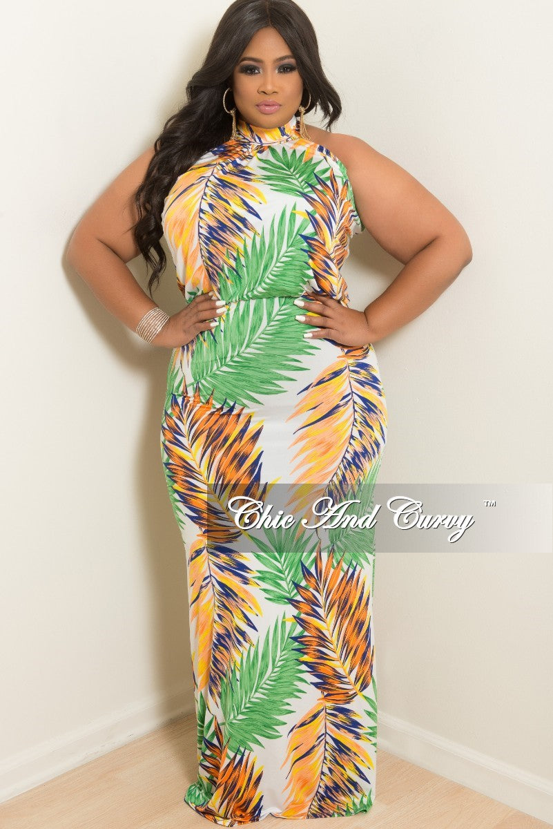 New Plus Size Floor Length Halter Maxi Dress in Green Peach Yellow ...