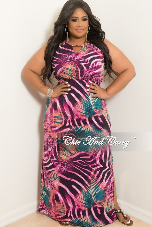 New Plus Size Sleeveless Long Dress with Back Neck Tie in Magenta Multi Color