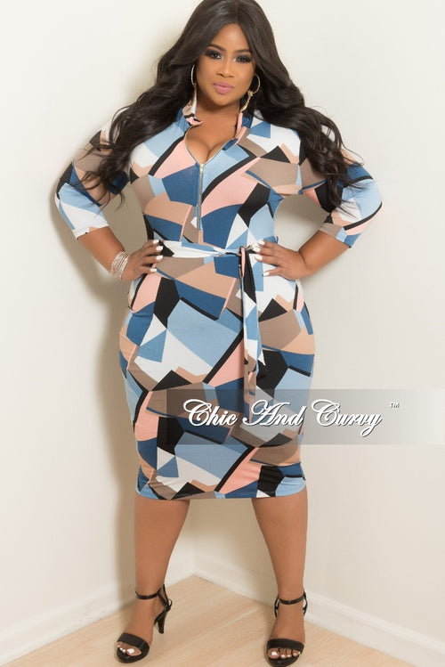 New Plus Size Zip-Up BodyCon Dress with Attached Tie in Blue Pink Black Brown and White