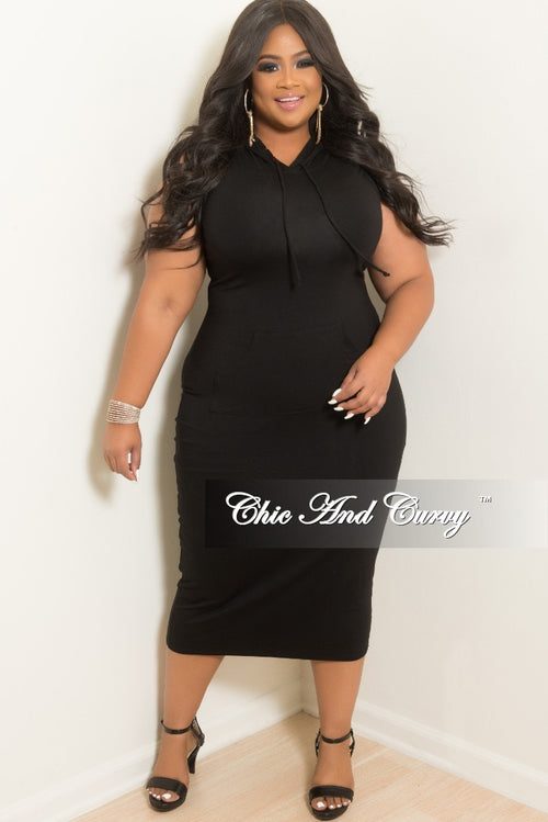 New Plus Size Sleeveless Hooded BodyCon Dress with Front Pocket in Black
