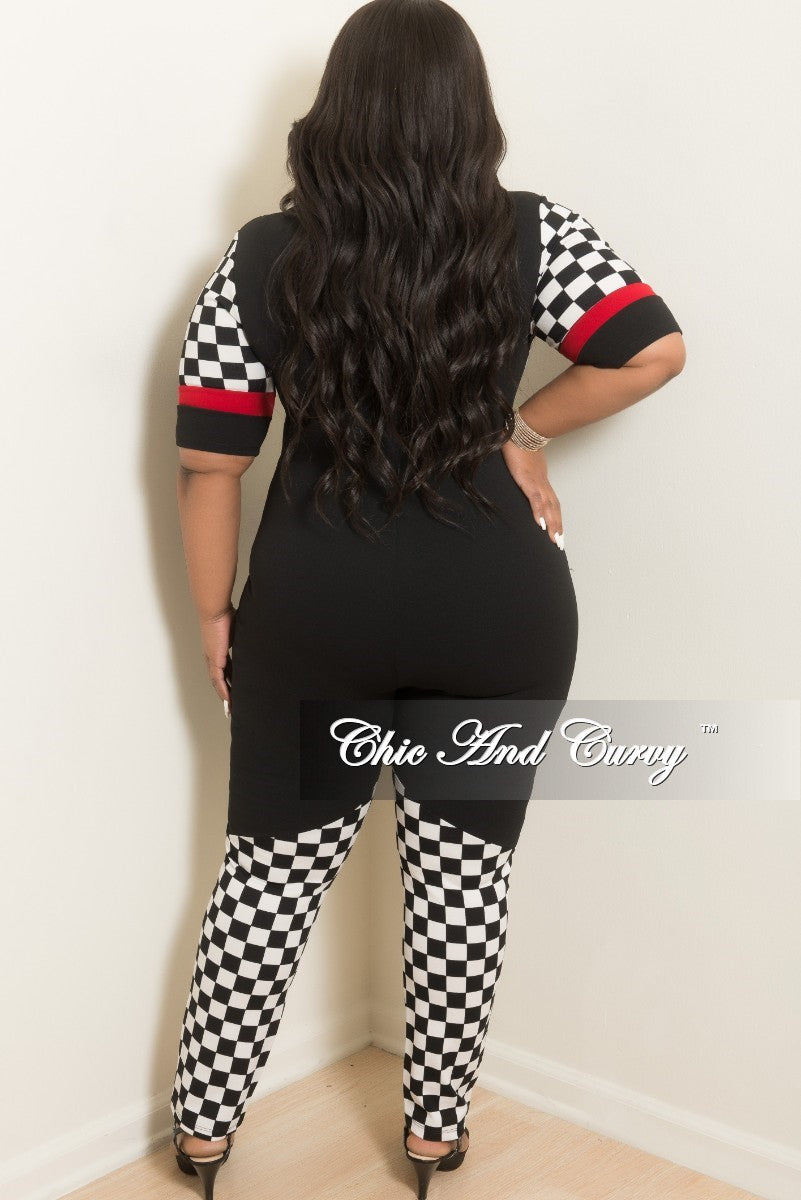 Final Sale Plus Size Sporty Zip-Up Jumpsuit in Black and Red with Checker Print Trim