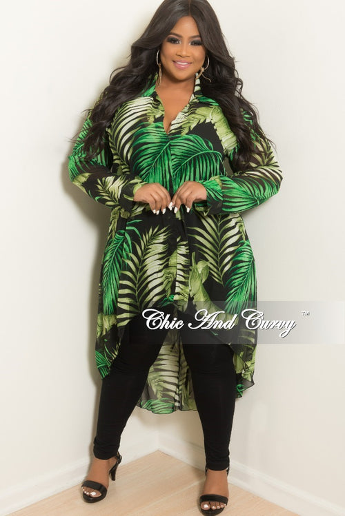 New Plus Size Chiffon Collar High-Low Top in Olive Black and Green Leaf Print