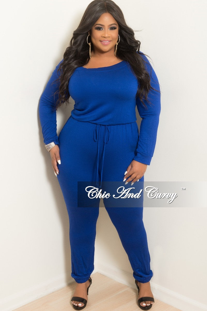 Final Sale Plus Size Off the Shoulder Jumpsuit with Tie in Royal Blue