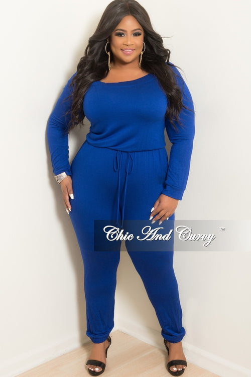 New Plus Size Off the Shoulder Jumpsuit with Tie in Royal Blue