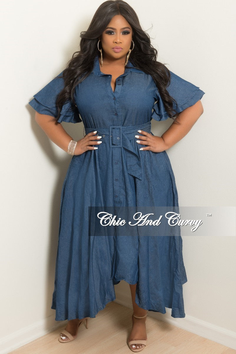 a30ae78802b Final Sale Plus Size Denim Dress With Attached Belt – Chic And Curvy