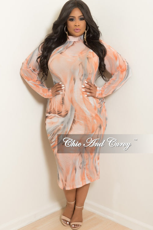 New Plus Size Long Sleeve Mesh BodyCon Dress with Back Gold Zipper in Peach and Grey