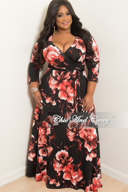 New Plus Size Deep V Faux Wrap Dress with 3/4 Sleeves in Black and Red Floral Print