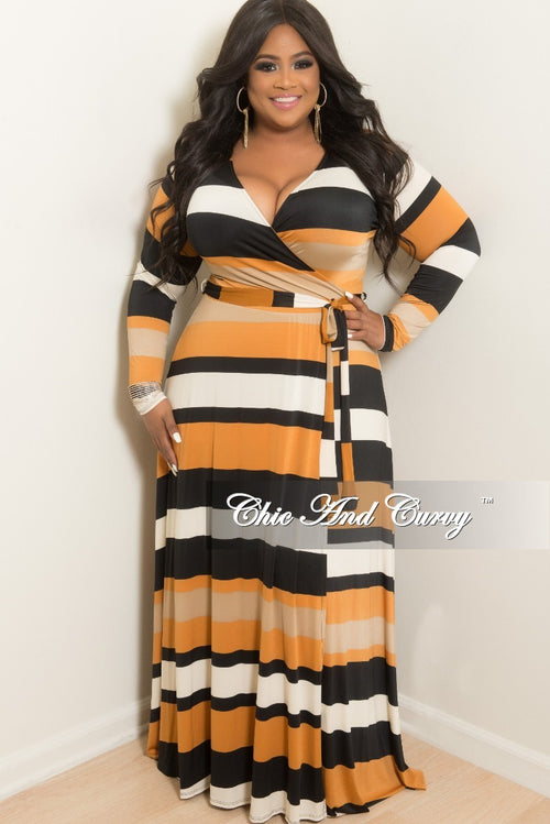 New Plus Size Long Wrap Dress with Attached Tie in Rust Black Ivory and Tan Stripe Print