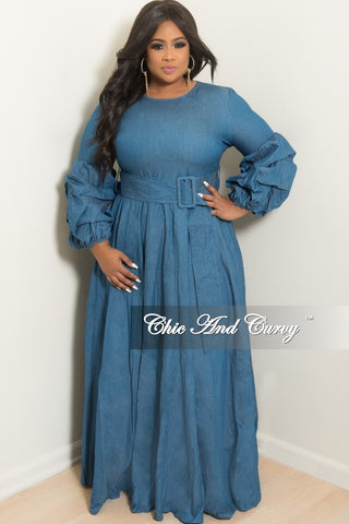 New Plus Size Denim Dress With Attached Belt Chic And Curvy