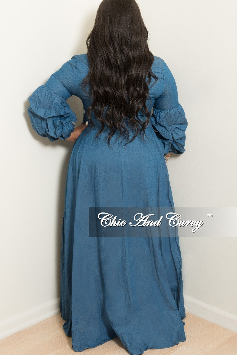 New Plus Size Long Dress with Puffy Sleeves and Attached Belt and Back Zipper in Denim