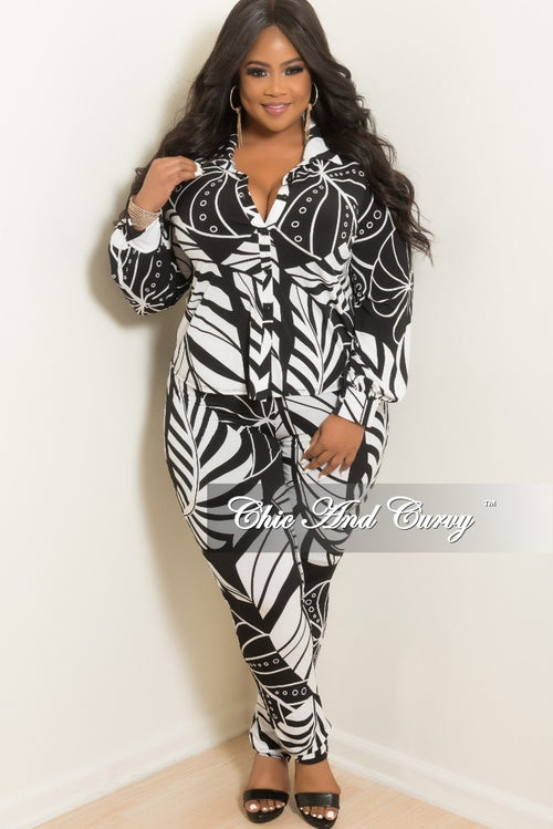New Plus Size 2 Piece Button Up Collar Top and Pants Set in White and Black Leaf Print