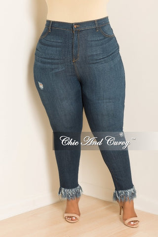 New Plus Size High Waist Jean with Bottom Fringes in Denim
